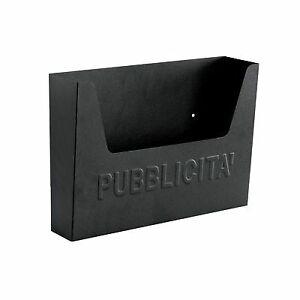 cassetta porta pubblicità portalettere nera cm 34x7x26h in lamiera stampata