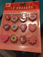 Conversation Hearts Rubber Erasers - 12 pcs Colorful Candy Love Puzzle Toys