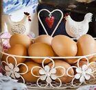 Hen Chicken Basket Holder Metal Wire White Kitchen Counrty Egg Fruit Storage