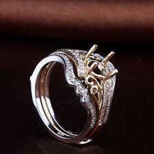 10K Yellow Gold Pave Natural SI Diamond Semi Mount  Engagement Wedding Ring Sets