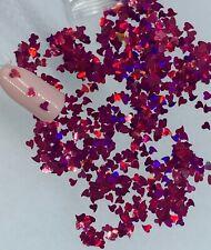 Valentine's Holographic Dar Pink Heart Nail Glitter | 1 TSP | Nail Art & Acrylic