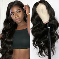 Remy Peruvian Real Human Hair Wigs Long Wavy Pre Plucked Full Lace Front Wig