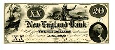 1857  $20  Fairmount, Maine    New England Bank. Never Incorporated Fraudulent.