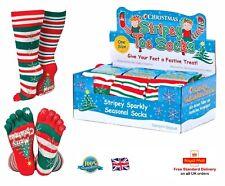 Christmas Stripy Toe Socks Soft & Stretchy Men's Ladies Kids Fancy Dress Gift Uk