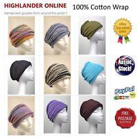 Hand Loom 100% Cotton Chemo wrap Hippy Headband Hijab Loopy Scarf Hair Band