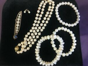 Vintage Pearl Jewellery Real & Faux: Bracelets, Necklaces, Brooch + Gold Plated