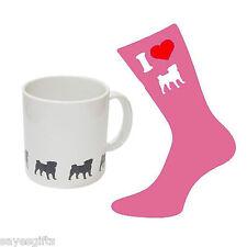 Me encanta Pug señoras Rosa calcetines & Pug imágenes Blanco Taza Perfecta Damas Regalo