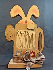"SPRING Bunny Rabbit Figurine 12"" Watering Can Die Cut Wood Hand Painted"