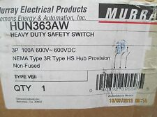 MURRAY/ SIEMENS HUN363AW OUTDOOR  HD SAFETY SWITCH 600V 100A 3P NON-FUSED  NIB