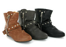 Womens Flat Pixie Fashion Soft Ankle Boots Size 3-8