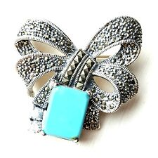 TURQUOISE BOW PIN Vintage Large Ribbon Brooch Marcasite .925 STERLING SILVER