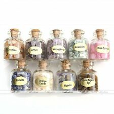 9 Mini Gemstone Bottles Chip Crystal Healing Tumbled Gem Reiki Wicca Stones Set