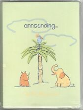 15 Baby Birth Announcements Boy Girl Green Animals Yoko Ono Lennon Signed Pastel