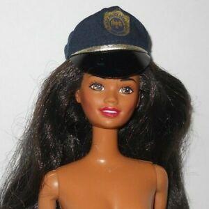 Vintage 1993 Barbie POLICE OFFICER  #10689 Brunette African American NUDE Hat