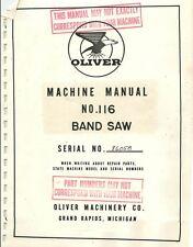 Oliver 116 Band Saw Manual Amp Parts List Pdf