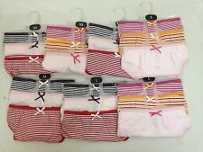 3 x Ladies Womens Bow Striped Cotton Underwear Thongs Knickers Size XS S M L
