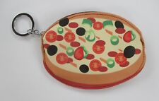 Pizza Fun Food COIN PURSE mini wallet KEY CHAIN keychain ring Ganz Vegan leather