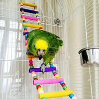 Bird Swing Wooden Bridge Ladder Climb Cockatiel Parakeet Budgie Parrot Pet Toy H