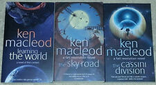 Ken MacLeod SIGNED Learning the World, Sky Road & Cassini Division (paperbacks)