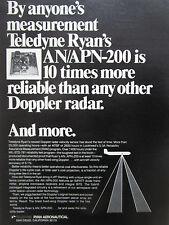 6/1974 PUB TELEDYNE RYAN AERONAUTICAL DOPPLER RADAR AN/APN-200 ORIGINAL AD