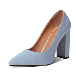 Elegant Women's Pointed Toe Office Block High Heels Slip On Faux Suede Shoes New