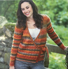 KNITTING PATTERN Ladies Striped Wrap Cardigan Long Sleeve King Cole DK PATTERN