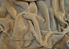 MINK NATURAL COLOURED COTTON VELVET UPHOLSTERY CURTAIN FABRIC - FREE POSTAGE