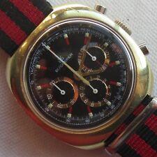 Bucherer Chronograph mens wristwatch gold plated case cal. Lemania