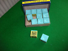 Triangle Green Snooker/Pool Chalk Box of 12