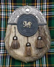 New Celtic Welsh Dragon Kilt Sporran Seal Skin Celtic Cantle/Kilt Sporrans Seal