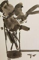 JOSE TRUJILLO BOUQUET ABSTRACT Minimalist Art INK WASH on Paper 6X9 NEW