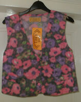 NEW GIRLS FLORAL WAISTCOAT PINK & LILAC SIZES 4-5 7-8 9-10 AND 11-12 YEARS