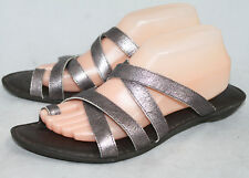 BORN D20818 Wo's 11 Metallic Pewter Leather Strappy Toe Loop Sandals