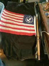 "New listing Vintage Cloth Anchor & 13 Stars Ship Yacht Flag on 25"" Wood Pole w Glass Ball"