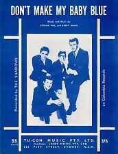 The Shadows-Don't Make My Baby Blue-1965 Sheet Music-Original Australian issue