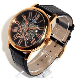 ROTARY MENS $695 AUTOMATIC ROSE GOLD WATCH, BLACK LEATHER STRAP GLE000017-10