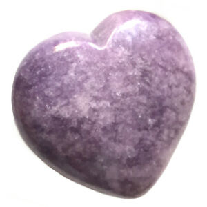 Natural Lepidolite Heart Palm Stone Rock Crystal Healing Reiki Polished Worry St