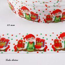 Ruban gros grain blanc à pois vert & rouge Lutin & Cadeaux de 22 mm vendu au m