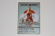 Garage Rules PIN UP  Vintage Style USA Retro Metall Deko Schild