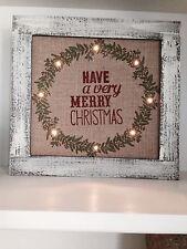 "15"" CHRISTMAS LIGHT UP SIGN BURLAP VINTAGE WOOD WALL DECOR FARM HOUSE LED"
