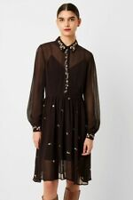 FRENCH CONNECTION BLACK DANNA EMBROIDERED SHIRT DRESS SIZE UK 10 Rrp £130