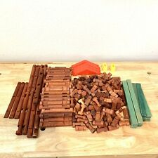Lot Of Vintage Lincoln Logs Wooden Pieces 230 Pieces Total Building Toys