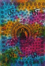 Lord Buddha Wall Hanging Yoga Mat Ethnic Throw Indian Tapestry Table Cloth AUM