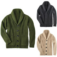 Men Shawl Collar Sweater Knitted Cardigan Turtleneck Warm Top Single Button Coat