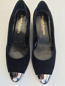 Russell & Bromley UK5.5 Black Suede Shoes Medium Heel  Silver Toe Made In Italy