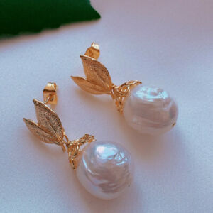 11-12MM Natural white baroque pearl earrings with 18KGB Classic Fashion Wedding