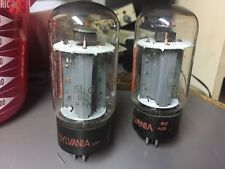 2 Vintage 6L6GC Sylvania red text tubes 6L6 USA tested pair