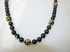 Black Onyx With Gold Filled Beaded Necklace w Cloisonne beads