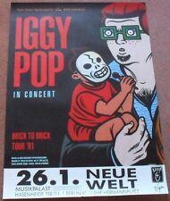 Iggy Pop Neue Welt Berlin German 26/1/91 concert Poster