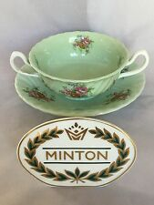 Minton ROSETTA GREEN - Footed Cream Soup Bowl and Saucer Set - England